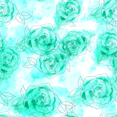 Seamless pattern of watercolor roses on teal texture Stock Photo