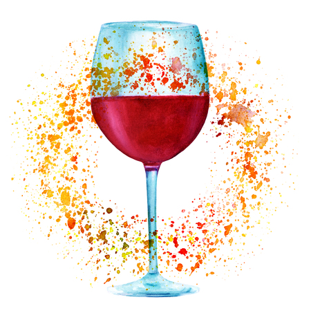 Autumn wine, watercolor drawing with golden paint splashes 写真素材