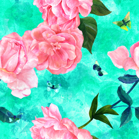 Seamless teal pattern with watercolor roses and butterflies