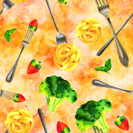 Golden seamless pattern, vegan food watercolor and photo collage Stock Photo