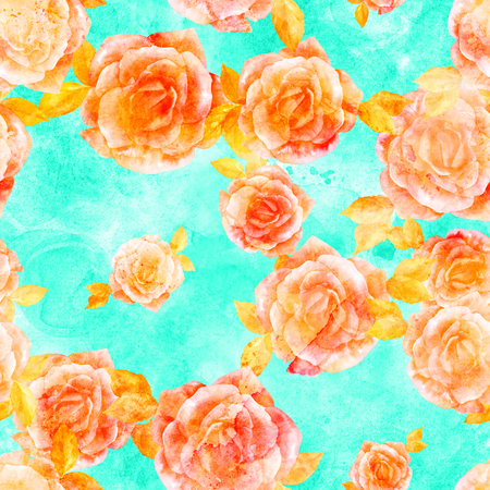 Seamless pattern with golden watercolor roses on teal