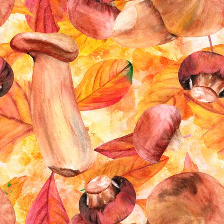 水彩キノコと紅葉のシームレス パターン