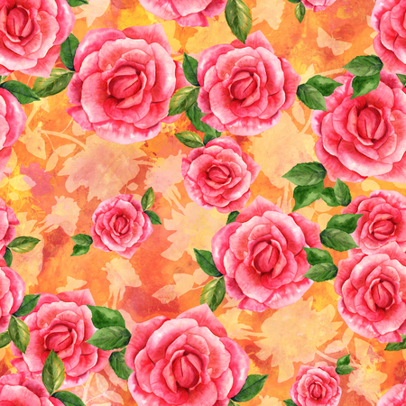 orange roses: Seamless pattern, watercolor rose on golden texture Stock Photo