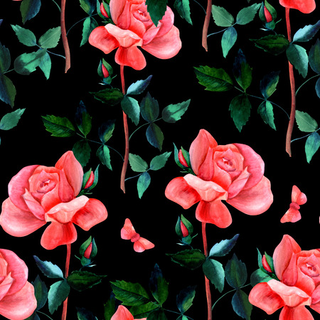 Seamless pattern with watercolor rose and butterfly on black Stock Photo
