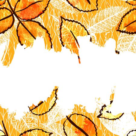 Vector and watercolor frame with autumn leaves and copyspace