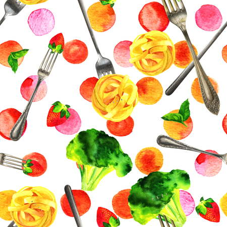 Seamless pattern of watercolour vegan food themed drawings Stock Photo