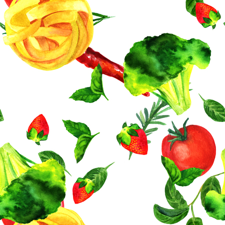 Seamless pattern of watercolour vegan food themed drawings Stock Photo
