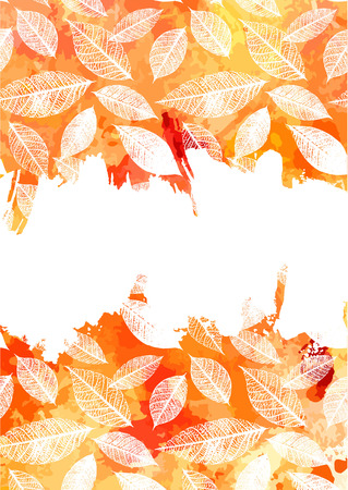 a4 borders: Vector and watercolor autumn invitation design with copy space