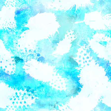 Seamless turquoise blue watercolor repeat print with feathers Stock Photo