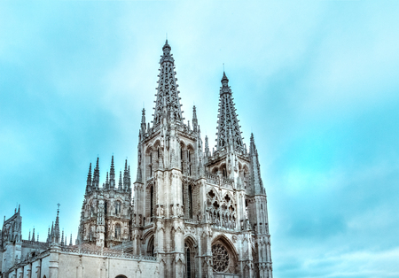 Gothic cathedral in Burgos, Spain, with copy space