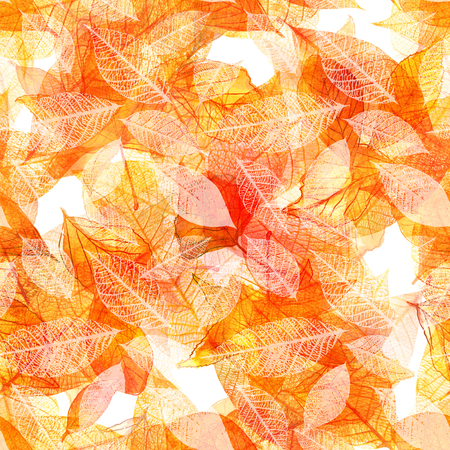 Seamless watercolor pattern of golden autumn leaves