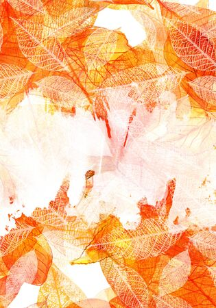 Autumn background with watercolor leaves and copy space Stock Photo