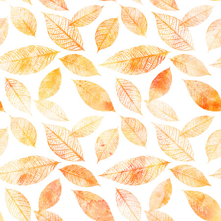 Seamless background pattern of golden tinted watercolor leaves Stock fotó