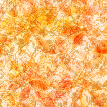 Golden yellow autumn leaves and branches, seamless pattern Stock Photo