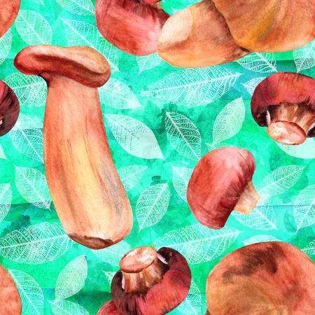 水彩マッシュルームと葉のシームレスなティール パターン