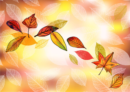 a4 borders: Vector and watercolor autumn background with leaves and copyspac