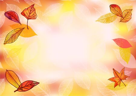a4 borders: Vector and watercolour horizontal autumn background with leaves Illustration