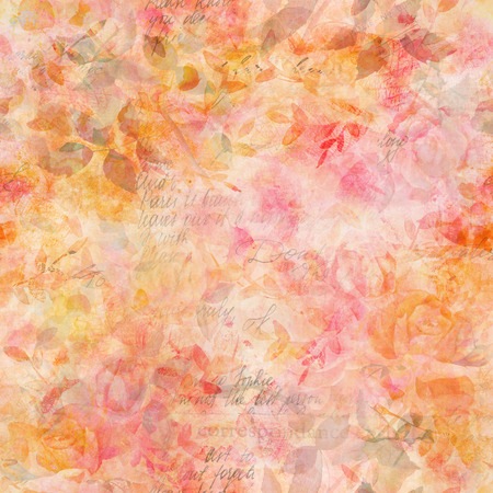 Toned seamless pattern with watercolor roses and faded texts