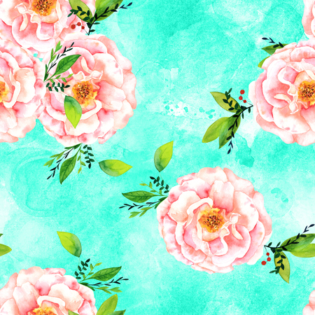 Seamless watercolour rose bud and leaves pattern