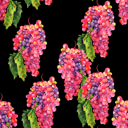 Seamless watercolor wine grapes background pattern on black Stock Photo