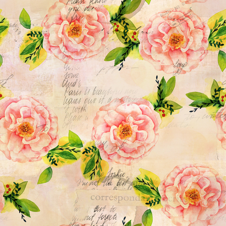 Vintage style collage with watercolor roses and ephemera Stock Photo