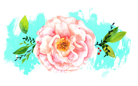 Watercolor rose on abstract teal brush stroke with copyspace Stock Photo