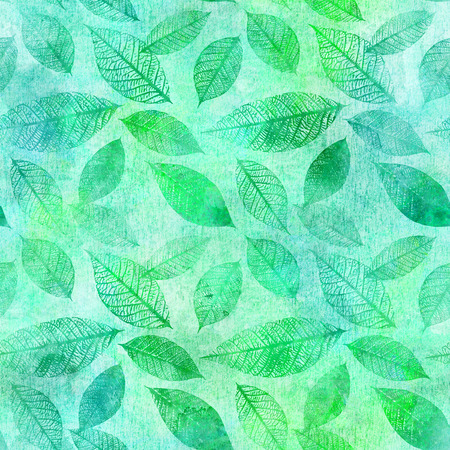 Seamless background pattern of teal and green toned watercolor leaves Stock Photo