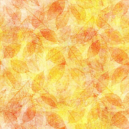 Seamless background pattern of golden yellow watercolor leaves Stock fotó