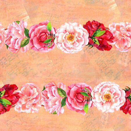 Seamless border of watercolor flowers on faded texts Stock Photo
