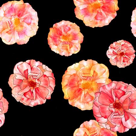 Seamless watercolor rose bud pattern on black
