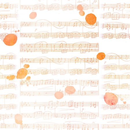 Seamless background pattern with golden sheet music and ink stains