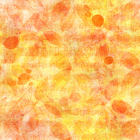Seamless pattern of golden yellow watercolor leaves on sheet music Stock fotó