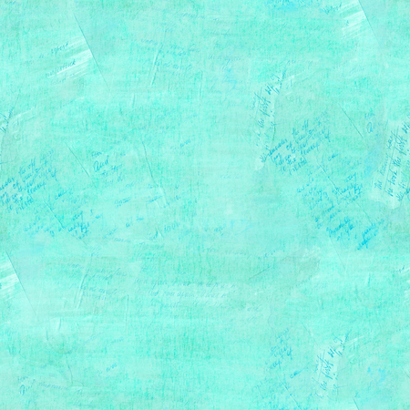 Seamless teal pattern of handwritten texts, vintage collage