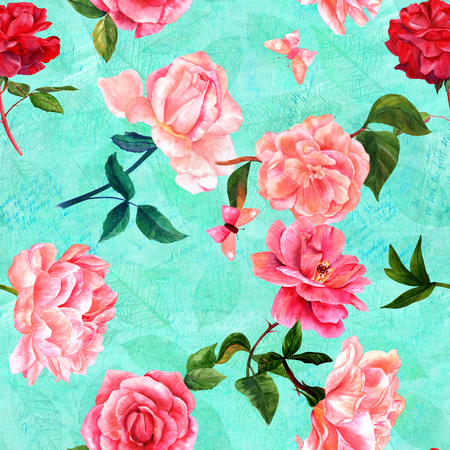 Seamless teal pattern of watercolor flowers and butterflies on faded texts