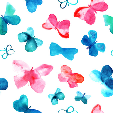 Seamless background pattern with watercolor pink and teal blue butterflies