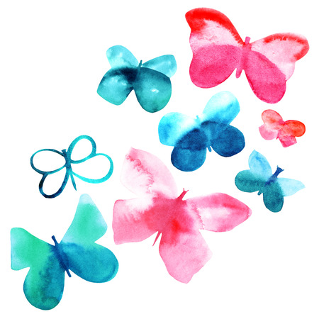 Set of pink and teal blue abstract watercolor butterflies 写真素材