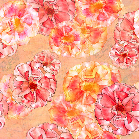 Seamless watercolor rose bud pattern on faded texts