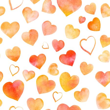 Seamless pattern of watercolor hearts on white, Valentine print