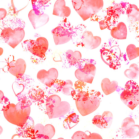 Seamless pattern with watercolor hearts and butterfly silhouettes