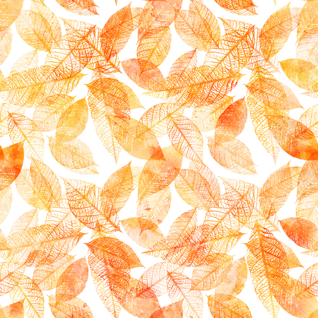 Seamless background pattern of golden tinted watercolor leaves Stock Photo