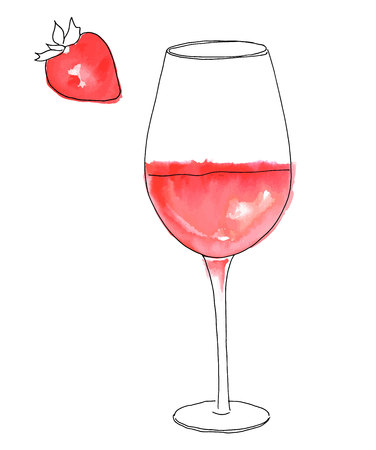 A vector and watercolor drawing of a glass of rose wine with a strawberry, on white background Illustration