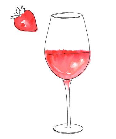 Un disegno vettoriale e acquerello di un bicchiere di vino rosato con una fragola, su sfondo bianco Archivio Fotografico - 94826314