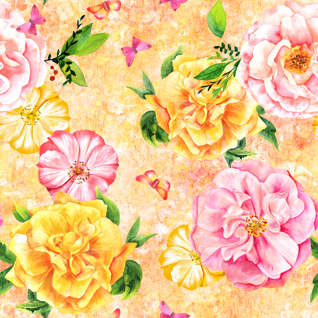 Seamless pattern with watercolor roses and butterflies on yellow