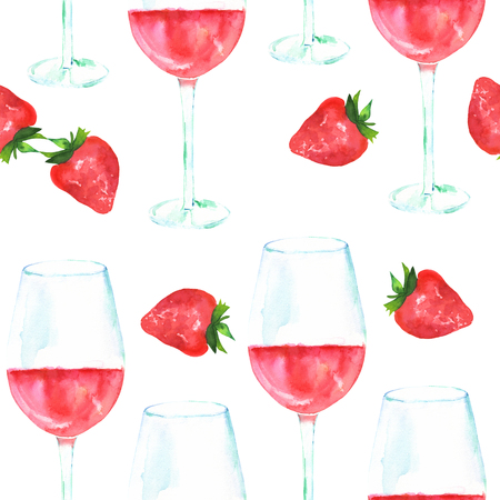 Seamless pattern with rose wine and strawberries, watercolour, repeat print on white Stock Photo