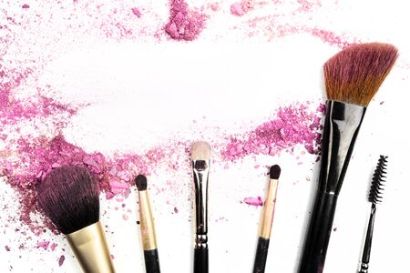 Powder and blush forming frame, with makeup brushes and copyspace Stok Fotoğraf