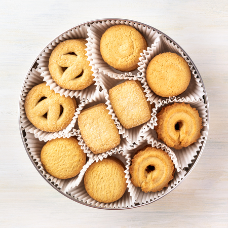 Overhead photo of Danish butter cookies in a tin