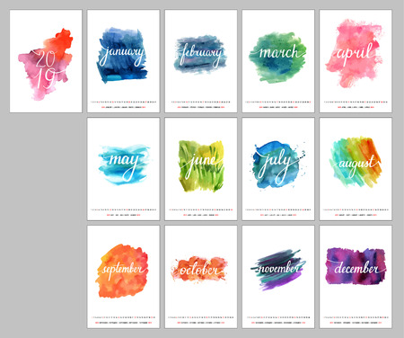 2019 vector calendar with lettering and watercolor textures