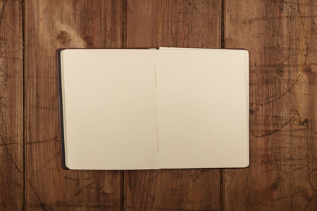 Overhead photo of open journal with blank pages Stockfoto