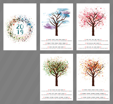 Vector calendar for year 2019 with watercolor tree and copy space
