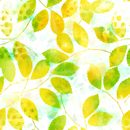 A seamless pattern with watercolour autumn leaves and branches, a fall repeat print